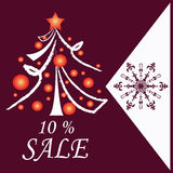 Card with decorative christmas tree. And sale sign on burgundy background Royalty Free Illustration