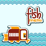 Card with decorative fish. Menu element for cafe or restaurant. Vector illustration Royalty Free Stock Photography