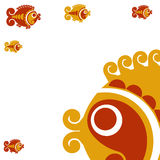 Card with decorative fish. Vector decorative fish in a folk style Royalty Free Stock Photos