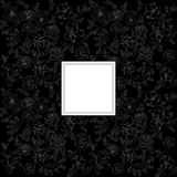 Card with decorative flowers. Black background with decorative flowers Stock Photography
