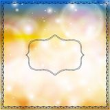 Card with decorative frames on bokeh lights Royalty Free Stock Photos