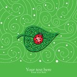 Card with decorative leaf and ladybug Royalty Free Stock Image
