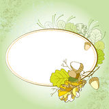 Card with decorative oak leaves and acorns on the textured background Stock Photos