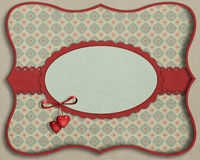 Card with  decorative oval. Background with vintage wallpaper and decorative elements. Computer graphics Stock Image