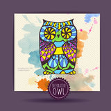 Card with decorative owl Stock Photo