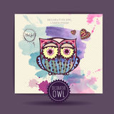 Card with decorative owl Stock Image