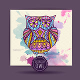 Card with decorative owl Royalty Free Stock Photography