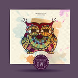 Card with decorative owl Stock Images