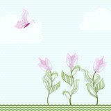 Card With Decorative Tulips And Butterfly Royalty Free Stock Photos