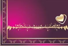 card dekorativ blom- ramhjärtaorname Arkivbild