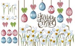 card den easter hälsningen Påskliljor och målade ägg Isolerade beståndsdelar på vit bakgrund vektor illustrationer