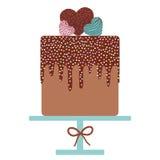 Card design - Birthday, valentine`s day, wedding, engagement. Sweet cake, cream chocolate icing sprinkles, cake pops heart, paste Royalty Free Stock Photo