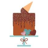 Card design - Birthday, valentine`s day, wedding, engagement. Sweet cake, Ice cream waffle cone, chocolate icing sprinkles, cake Stock Photo