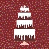 Card design - Birthday, valentine`s day, wedding, engagement. Sweet cake, white cream chocolate cake, cake pops, pastel colors on Royalty Free Stock Photography