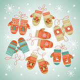 Card design with Christmas mittens Royalty Free Stock Images