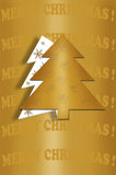 Card design with christmas tree on gold background Royalty Free Stock Photos