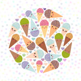 Card design circle with Kawaii mint kiwi raspberry blueberry chocolate Ice cream waffle cone funny muzzle with pink cheeks and win Stock Photo