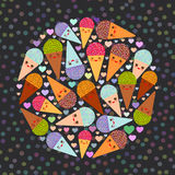 Card design circle with three Kawaii mint raspberry chocolate Ice cream waffle cone funny muzzle with pink cheeks and winking eyes. Pastel colors black polka Royalty Free Stock Images
