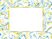 Card design with marble pattern and gold frame stock illustration