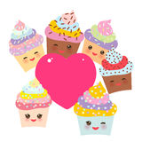 Card design with Cupcake Kawaii funny muzzle with pink cheeks, winking eyes and pink heart for your text, pastel colors on white. Background. Vector stock illustration