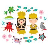 Card design Hawaiian Hula Dancer Kawaii boy girl set of Hawaii icons symbols guitar ukulele flowers parrot fish crab octopus ancho. R flower sea ocean palm trees Stock Photos