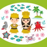 Card design Hawaiian Hula Dancer Kawaii boy girl set Hawaii icons symbols guitar ukulele flowers parrot fish crab octopus anchor f. Lower sea ocean palm trees Royalty Free Stock Photo