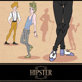 Card design with hipster boys. Card design with pretty hipster boys royalty free illustration