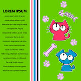 Card design kitty and puppy Stock Image