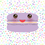 Card design lilac Kawaii macaroon with pink cheeks and big eyes, pastel colors polka dot background. Vector. Illustration Royalty Free Stock Photo