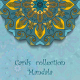 Card design with mandala pattern. Indian, arabic, orient motifs in blue, orange and brown colors. Can be used for yoga studio, booklet template, greeting card Royalty Free Stock Photography