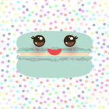 Card design mint blue Kawaii macaroon with pink cheeks and big eyes, pastel colors polka dot background. Vector. Illustration Royalty Free Stock Photo