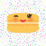 Card design Orange Kawaii macaroon with pink cheeks and winking eyes, pastel colors polka dot background. Vector. Illustration Stock Image