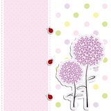 Card design purple flower polka dot background Royalty Free Stock Images