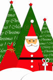 Card design with santa and christmas trees Stock Images