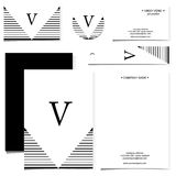 Card design set in  format. Black and white line pattern Royalty Free Stock Photo