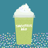 Card design smoothie bar kiwi smoothie transparent plastic cup with  whipped cream on dark cyan, turquoise background. Vector Stock Photography