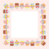 Card design with square frame, Cupcake, muzzle with pink cheeks and winking eyes, pastel colors on pink white background. Vector Royalty Free Stock Photography