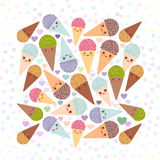 Card design square with Kawaii mint kiwi raspberry blueberry chocolate Ice cream waffle cone funny muzzle with pink cheeks and win Stock Photos