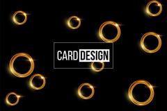 Card design template. Vector shiny golden rings on black background. stock illustration