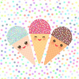 Card design with three Kawaii mint raspberry chocolate Ice cream waffle cone funny muzzle with pink cheeks and winking eyes, paste Stock Photography