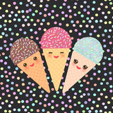 Card design with three Kawaii mint raspberry chocolate Ice cream waffle cone funny muzzle with pink cheeks and winking eyes, paste Royalty Free Stock Photography
