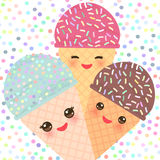 Card design with three Kawaii mint raspberry chocolate Ice cream waffle cone funny muzzle with pink cheeks and winking eyes, paste Stock Images