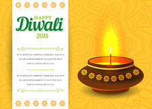Card design of traditional Indian festival Diwali with lamp. Vec. Tor Royalty Free Stock Image