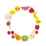 Card design for your text, banner template, round frame strawberry, orange, banana cherry, lime, lemon, kiwi, plums, apples, water Stock Photos