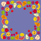 Card design for your text, banner template, square frame strawberry, orange, banana cherry, lime, lemon, kiwi, plums, apples, wate Stock Photo