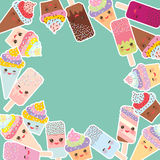 Card design for your text. round frame, cupcakes with cream, ice cream in waffle cones, ice lolly  Kawaii with pink cheeks and win Royalty Free Stock Photo