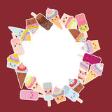 Card design for your text. round frame, wreath. cupcakes with cream, ice cream in waffle cones, ice lolly   Kawaii with pink cheek Stock Image
