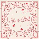 Card det ` s en flicka i rosa färger Royaltyfria Foton