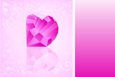 Card with diamond which has shape of heart Stock Photos