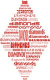 Card diamonds. Shape of red card diamonds suits made of words Stock Images